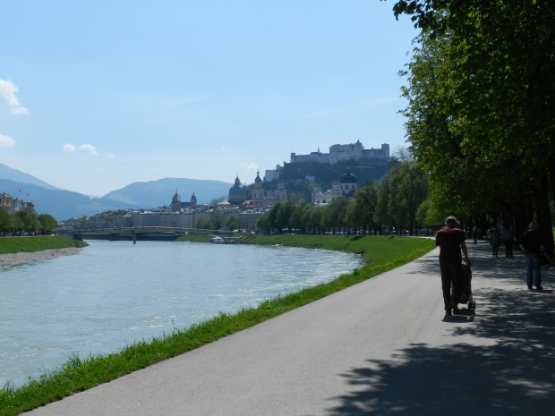 A view of the lovely Salzach River along our bike route.